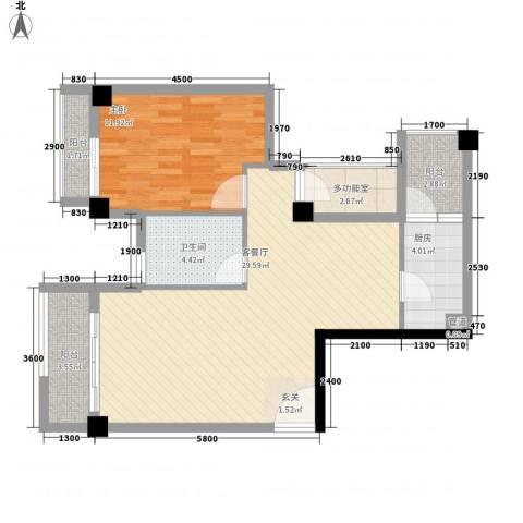 招商花园城1室1厅1卫1厨78.00㎡户型图