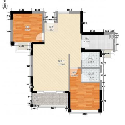 明发宿舍楼2室1厅2卫1厨94.00㎡户型图