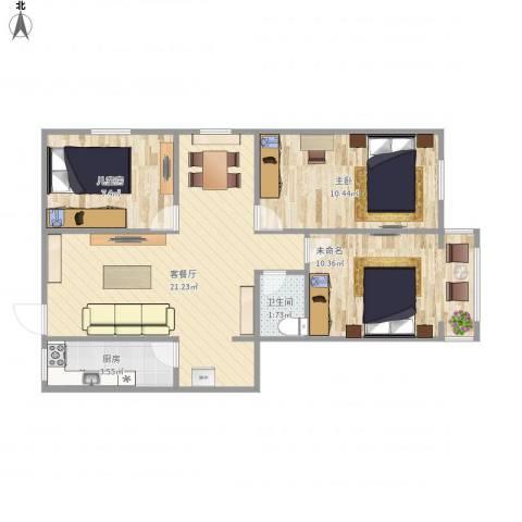 惠新西街33号院2室1厅1卫1厨74.00㎡户型图