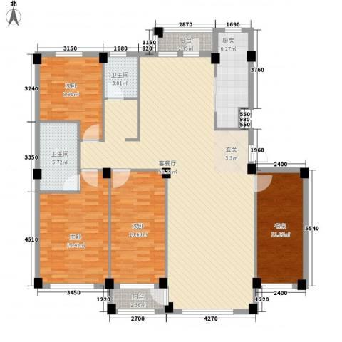 翰林苑4室1厅2卫1厨176.00㎡户型图