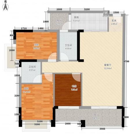 盈悦豪庭3室1厅2卫1厨111.00㎡户型图