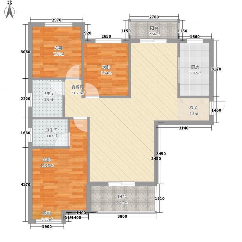 阳逻金色港湾112.85㎡2号楼C1户型3室2厅2卫1厨