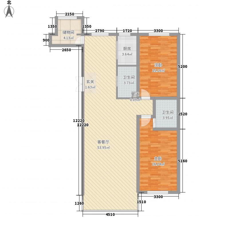 中新花园136.00㎡领世郡组团C1户型2室2厅1卫