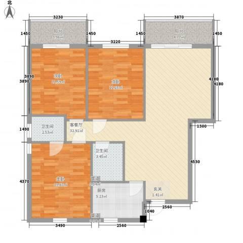 中国银行宿舍3室1厅2卫1厨115.00㎡户型图