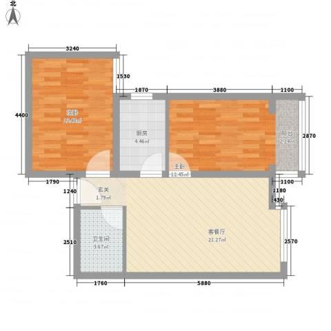 百花家园2室1厅1卫1厨72.00㎡户型图