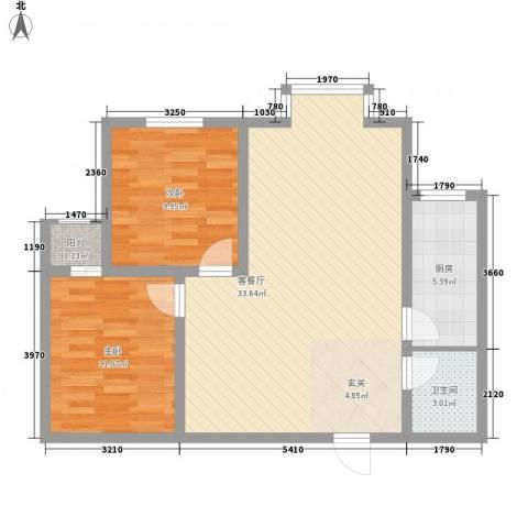 百花家园2室1厅1卫1厨92.00㎡户型图
