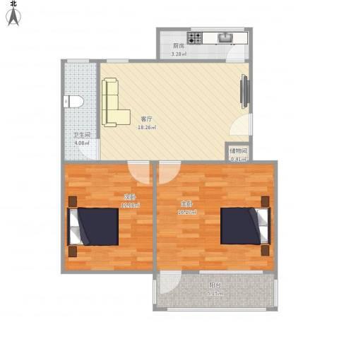 洪苑小区2室1厅1卫1厨80.00㎡户型图
