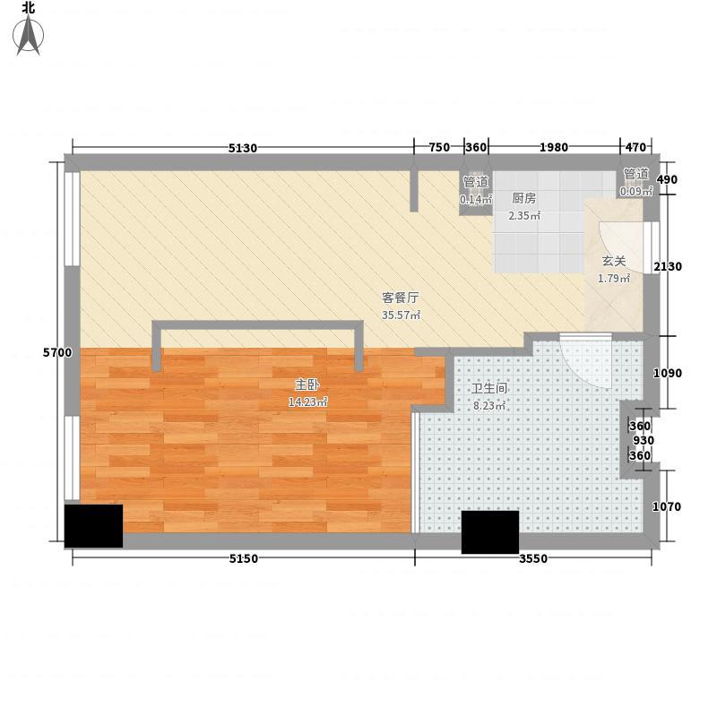 亚奥观典国际公寓85.60㎡C31户型1室1厅1卫1厨