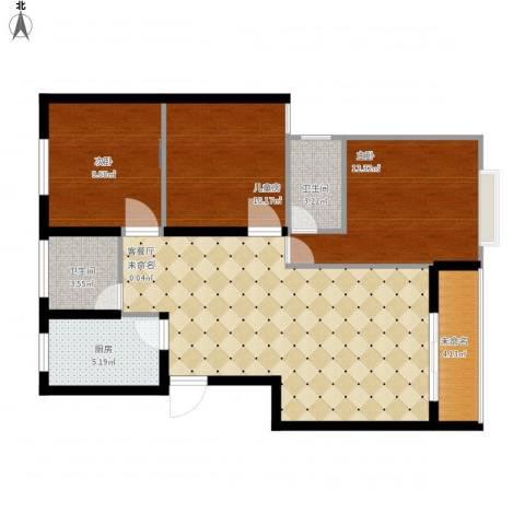 香格里拉3室1厅2卫1厨109.00㎡户型图