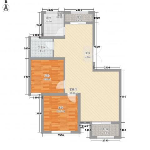 天房海天园2室1厅1卫1厨97.00㎡户型图