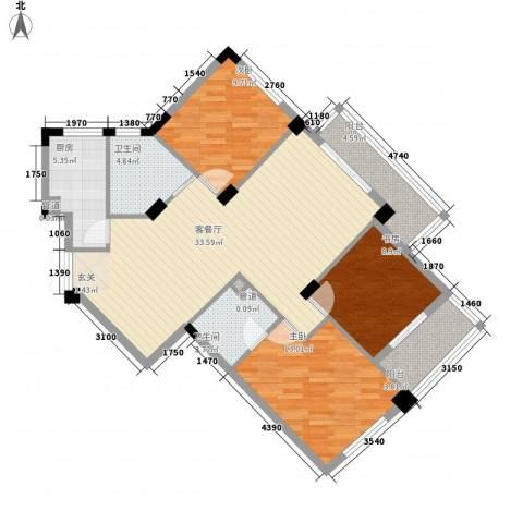 雅戈尔东湖馨园3室1厅2卫1厨124.00㎡户型图