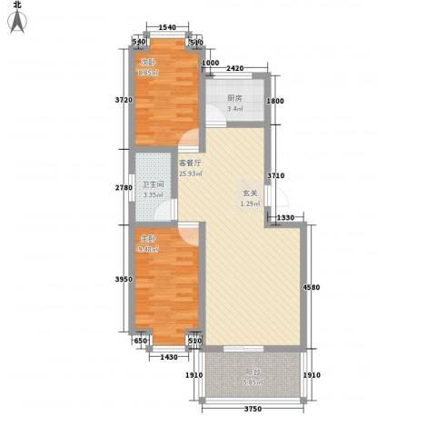 西城国际2室1厅1卫1厨83.00㎡户型图