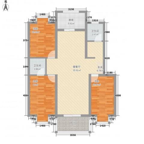 西城国际3室1厅2卫1厨122.00㎡户型图
