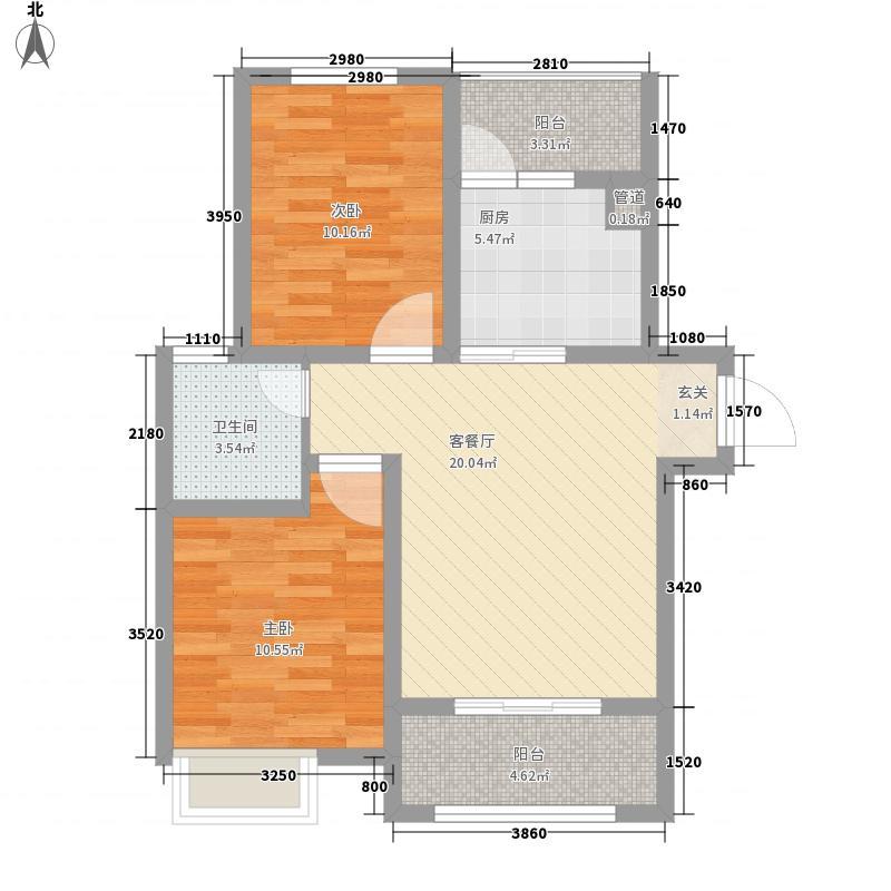 大观国际居住区85.00㎡二期16号楼东单元2-34层B5户型2室1厅1卫1厨