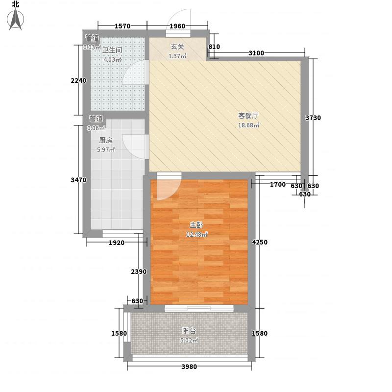 维利亚花园皇冠假日行馆66.60㎡1#2#中单元E2户型1室1厅1卫1厨