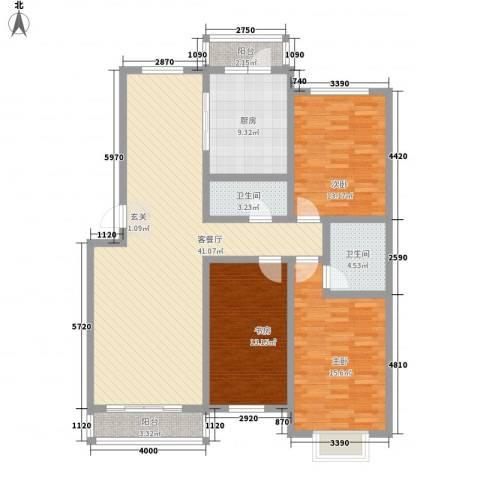 金桥景观花园3室1厅2卫1厨152.00㎡户型图