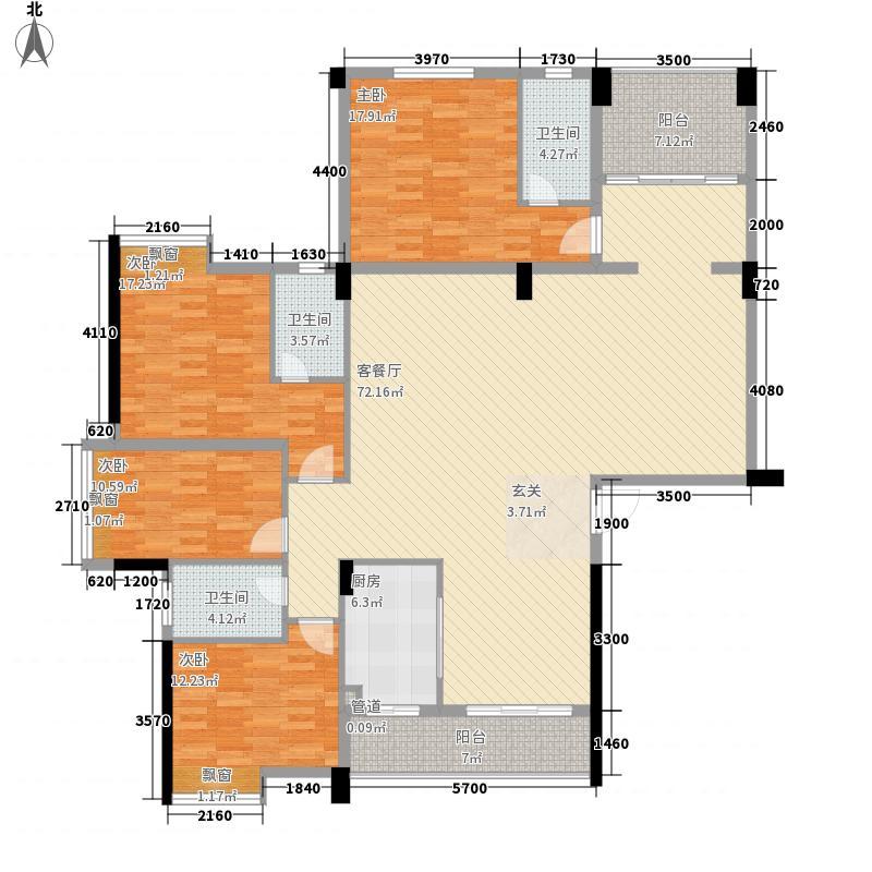 步步高豪庭24.85㎡3幢A首层01单元户型4室2厅3卫1厨