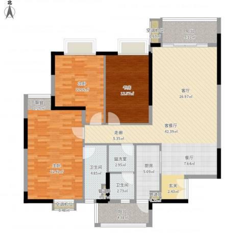 海港新城3室2厅2卫1厨164.00㎡户型图