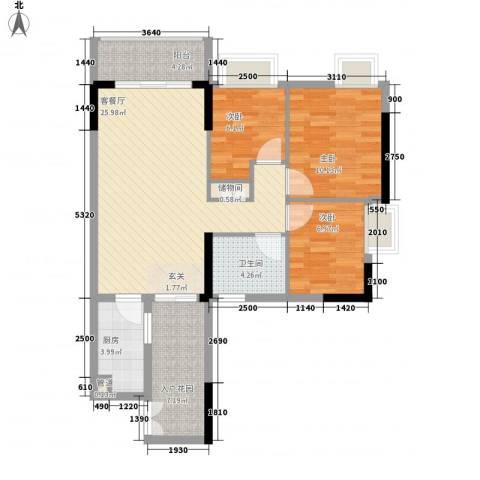 东田丽园三期3室1厅1卫1厨100.00㎡户型图