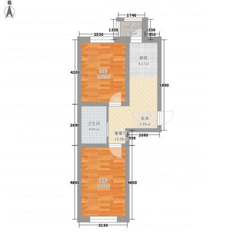 水景阁2室1厅1卫0厨64.00㎡户型图