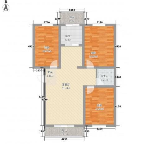 龙凤嘉苑三期3室1厅1卫1厨118.00㎡户型图
