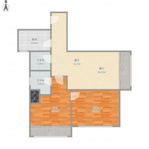 延平大厦-单栋-16032室1厅2卫1厨102.00㎡户型图