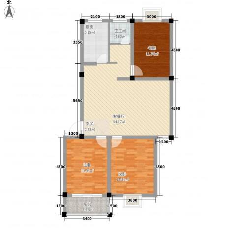 正侨花园3室1厅1卫1厨123.00㎡户型图
