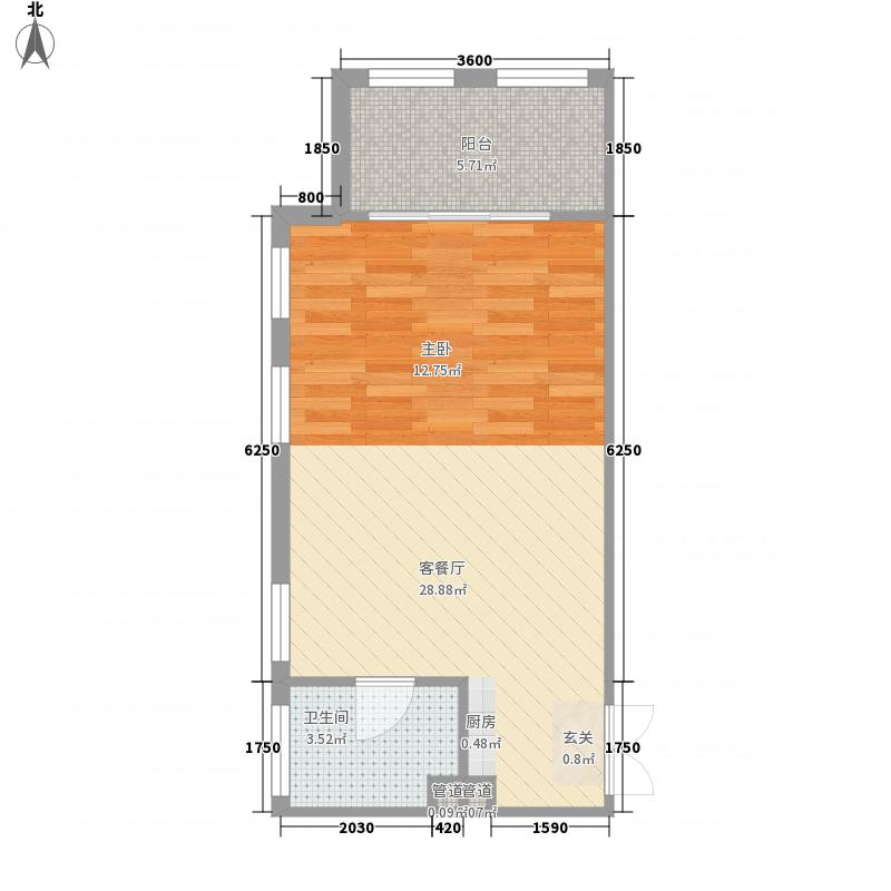 新泉城大厦58.00㎡公寓B1户型1室1厅1卫