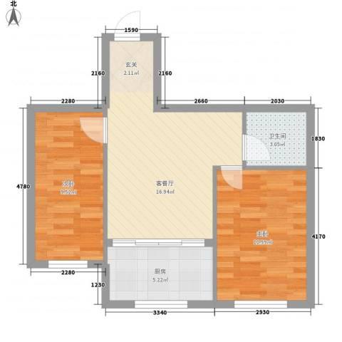 金都嘉园2室1厅1卫1厨52.00㎡户型图