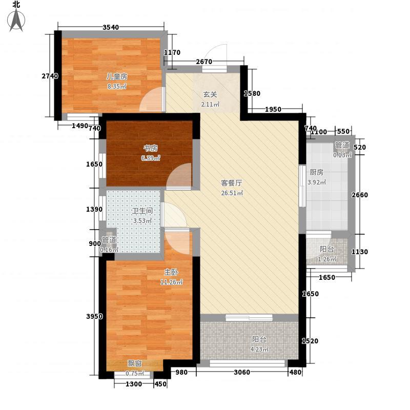 招商依云曲江6.00㎡1、2号楼B户型3室2厅1卫1厨