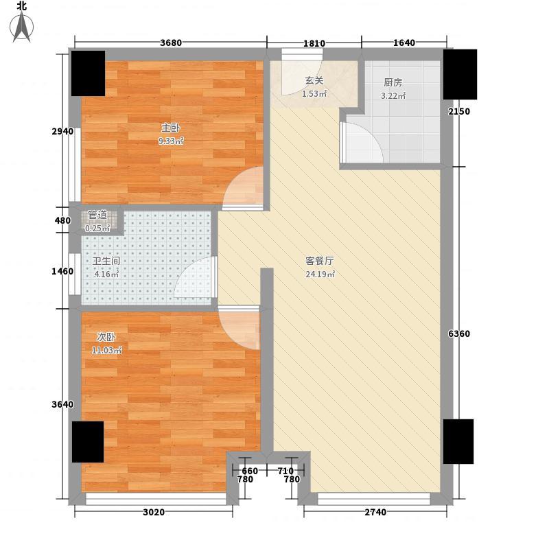 新高路小区户型2室2厅1卫1厨