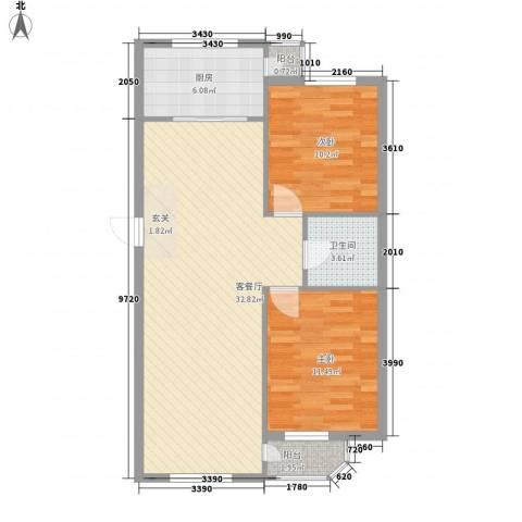 金都嘉园2室1厅1卫1厨74.11㎡户型图