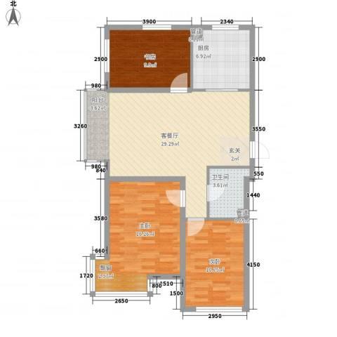 廊桥国际3室1厅1卫1厨76.88㎡户型图