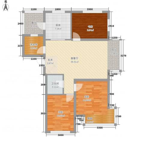 廊桥国际3室1厅1卫1厨83.58㎡户型图