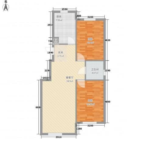 金都嘉园2室1厅1卫1厨81.60㎡户型图
