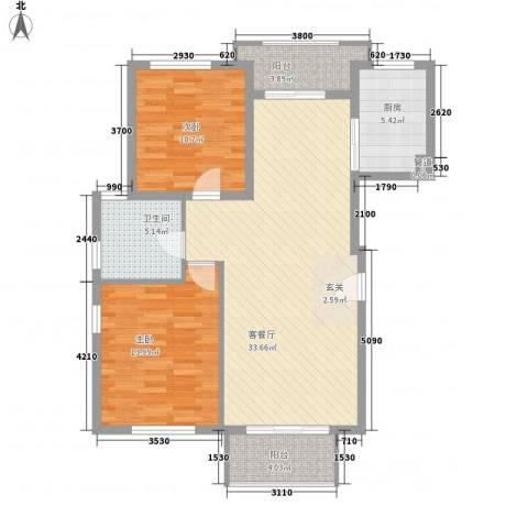 嘉隆公寓2室1厅1卫1厨108.00㎡户型图