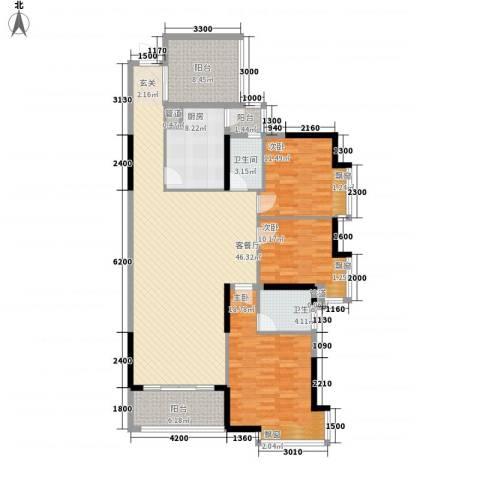 锦绣山河四期观园3室1厅2卫1厨118.83㎡户型图
