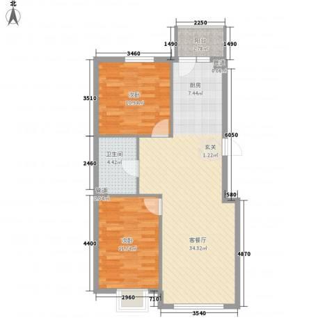 萧红书香苑2室1厅1卫0厨89.00㎡户型图