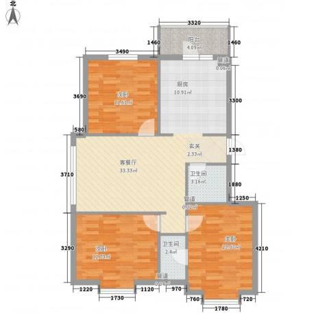 萧红书香苑3室1厅2卫0厨112.00㎡户型图