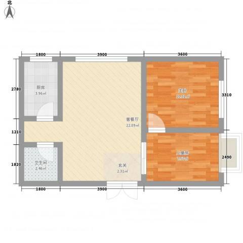 丁豪蓝调国际2室1厅1卫1厨73.00㎡户型图