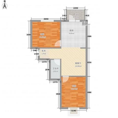 萧红书香苑2室1厅1卫0厨73.00㎡户型图