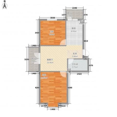 萧红书香苑2室1厅1卫0厨82.00㎡户型图