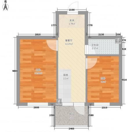 萧红书香苑2室1厅1卫0厨54.00㎡户型图