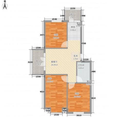 萧红书香苑3室1厅1卫0厨88.00㎡户型图