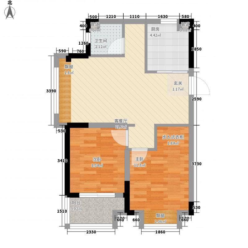 金辉优步花园75.00㎡6#标准层西边0C2户型2室2厅1卫1厨