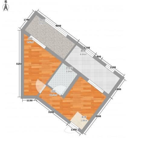巧克力公寓2室0厅1卫1厨56.00㎡户型图