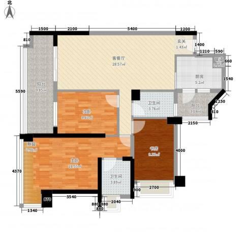 惠州雅居乐白鹭湖3室1厅2卫1厨112.00㎡户型图