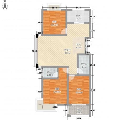 文景苑3室1厅2卫1厨90.37㎡户型图