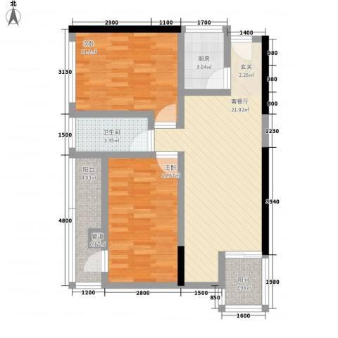 汇利商业中心2室1厅1卫1厨85.00㎡户型图