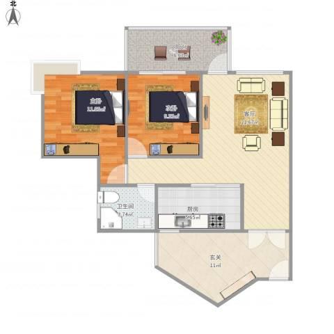 华宇阳光四季B42室1厅1卫1厨94.00㎡户型图